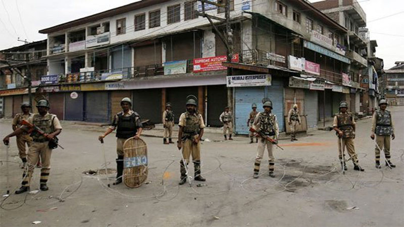 Curfew communication blackout martyr youth 74th day Indian troops three youth