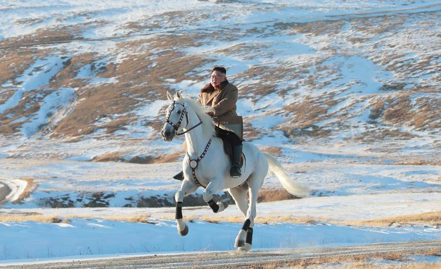 'Defiant message', North Korea, Kim, rides, white horse, sacred, mountain