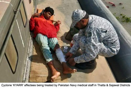 Pak Navy, rescues, cyclone, affectees, Thatta, Sajawal