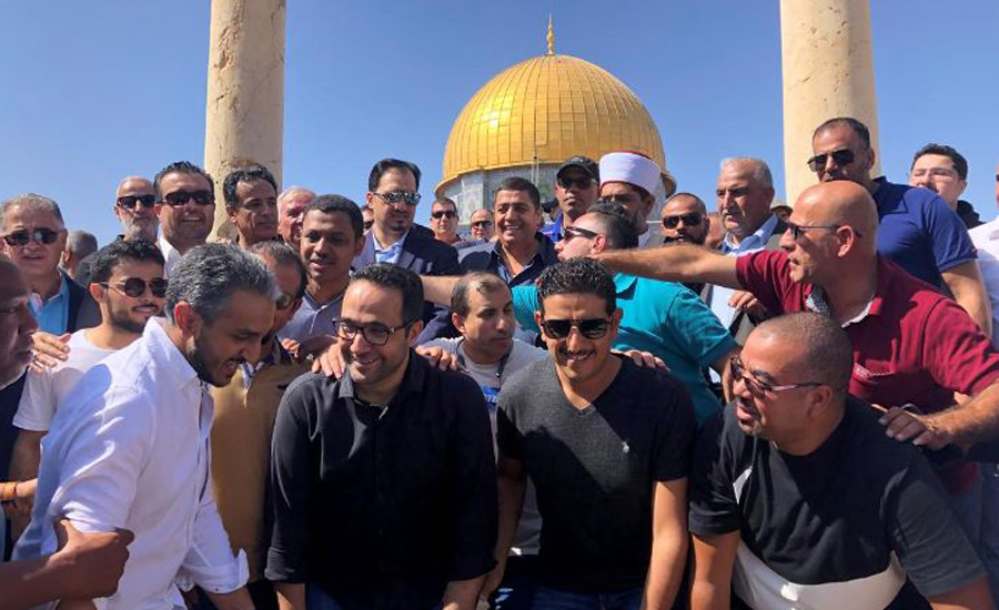 Saudi, soccer players, visit, Jerusalem, Muslim, holy site