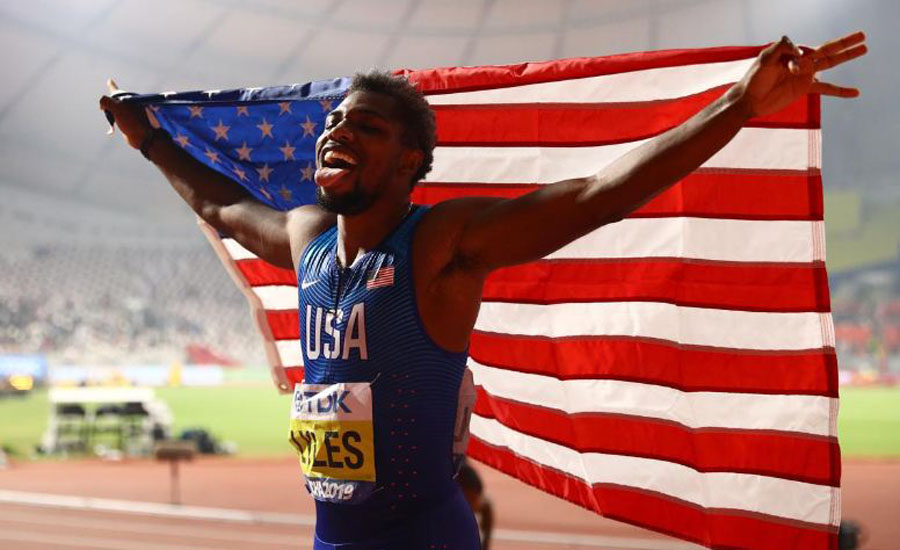 Athletics: Lyles beats asthma and the blues to conquer the world