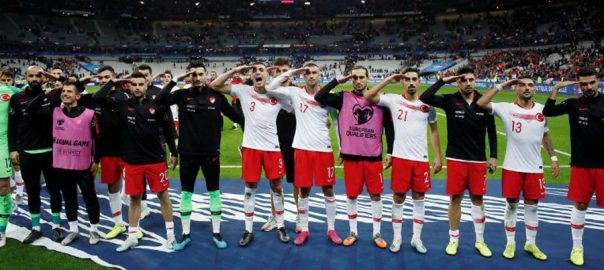 Turkey, players, salute, Syria, operation, goal, France