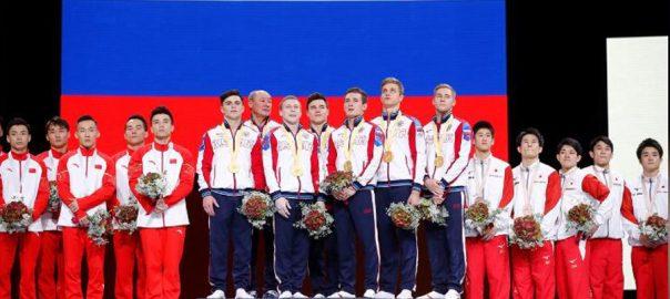 Russia, men, clinch, maiden, team, title, Gymnastics, World, Championships