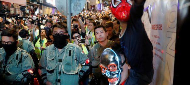 Hong Kong Halloween Halloween clashes mass rally Hong kong braces