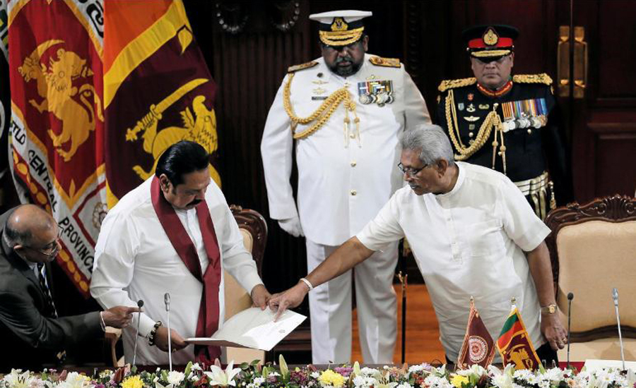 Sri Lanka, ruling, siblings, New president, swears, brother, PM