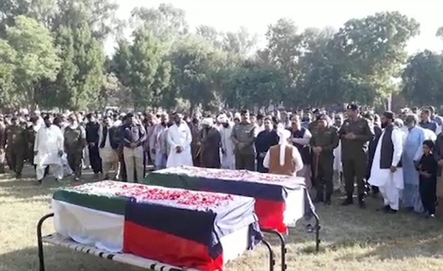 Funeral prayers polie personnel martyred Rajanpur Rajanpur firing incident