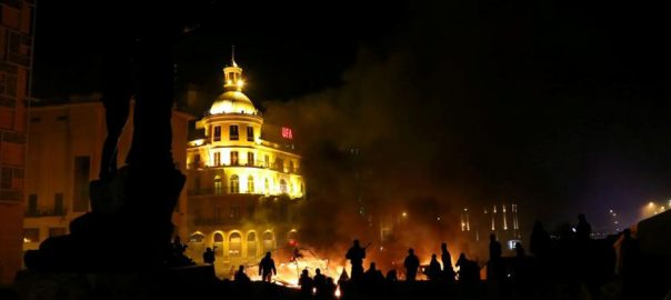 Clashes, rock, Beirut, security, forces, fire, tear gas, protest