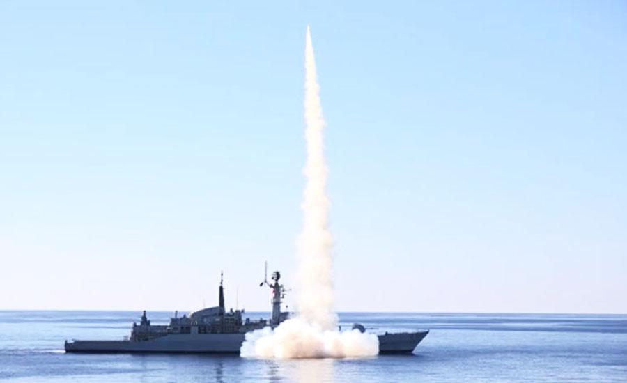Pak Navy demonstrates firing of missiles in Arabian Sea, Makran Coast