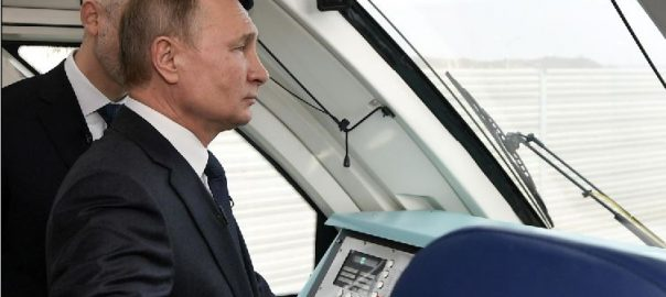 Putin, opens, Russian, rail route, Crimea