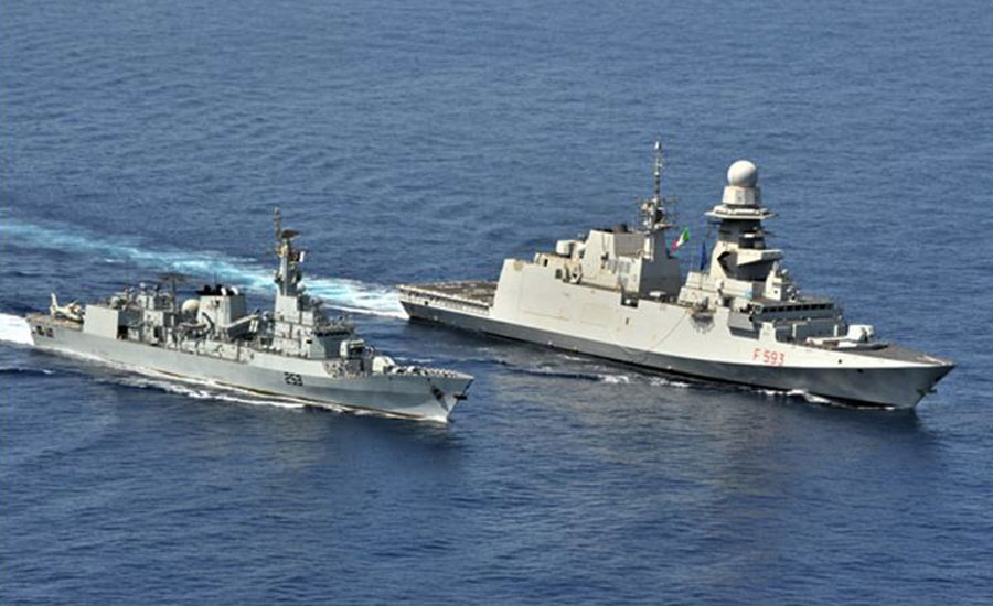 PNS SAIF participates in passage exercise with Italian ship in Gulf of Aden