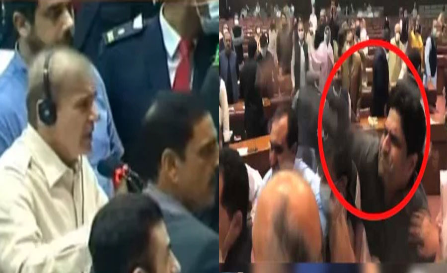 NA session turns into battle field as PTI lawmaker hits PML-N MNA with book
