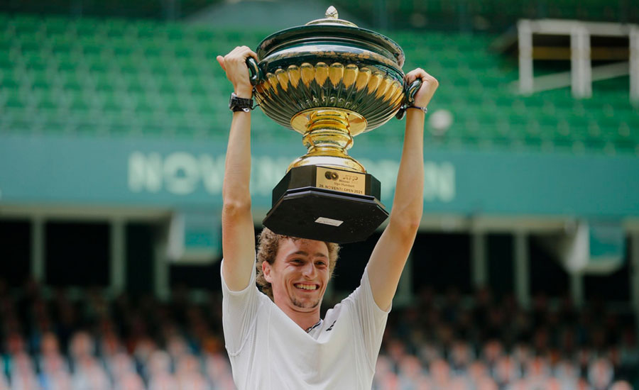 Humbert stuns Rublev to claim Halle title