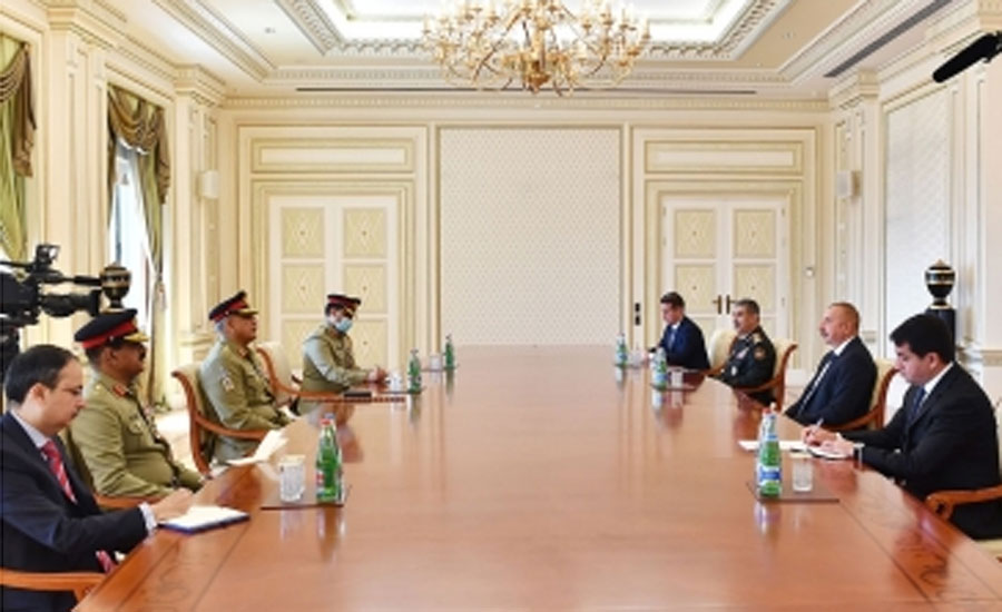 Azerbaijan's President Ilham Aliyev receives COAS Bajwa